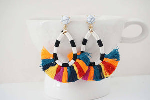 Marble Post and Multicolor Tassel Statement Earrings