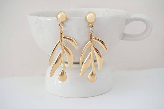 Glossy Gold Leaf Post Statement Earrings