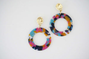 Multicolor Acrylic Circle Post Statement Earrings