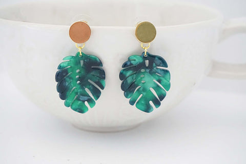 Green Acrylic Leaf and Gold Earrings