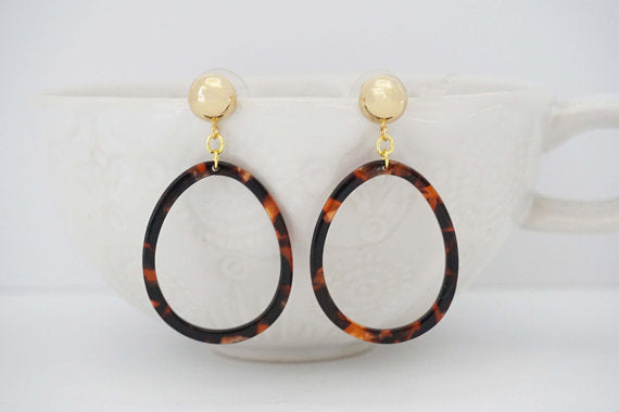 Tortoise Acrylic and Gold Post Statement Earrings