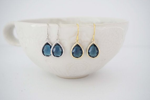 Sapphire Blue Teardrop Earrings | Bridesmaid Earrings | Wedding Jewelry