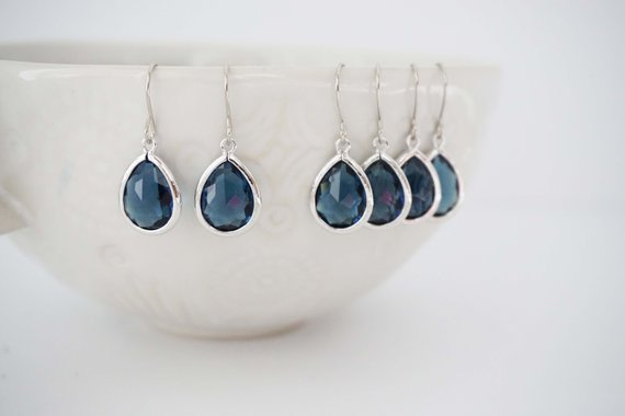 Sapphire Blue Teardrop Earrings | Bridesmaid Earrings | Wedding Jewelry | EBLG1, EBLS2