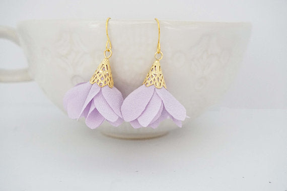 Purple Ruffle and Gold Earrings