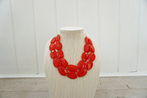 Bright Red Faceted Gem Statement Necklace
