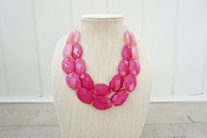 Pink Ombre Faceted Gem Statement Necklace