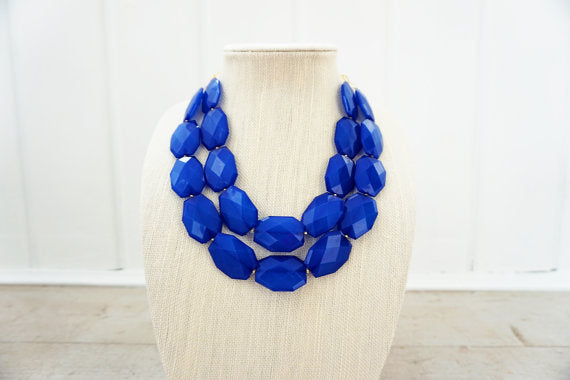 Sapphire Blue Faceted Gem Statement Necklace