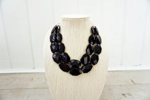 Jet Black Faceted Gem Statement Necklace