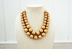 Metallic Big Beaded Statement Necklace