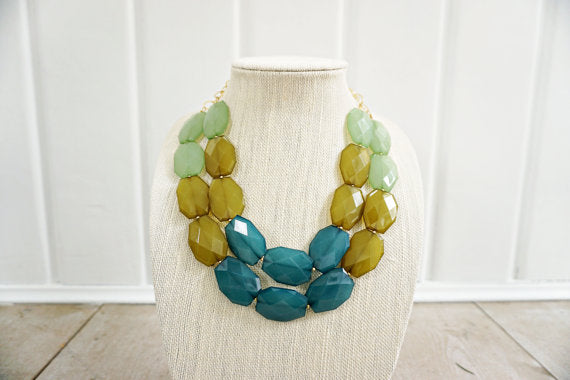 Green Ombre Faceted Gem Statement Necklace