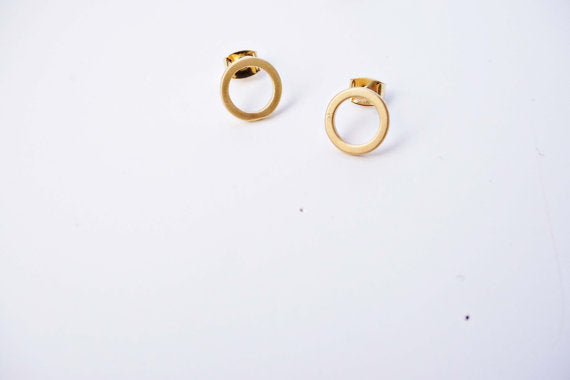 Matte Circle Post Earrings