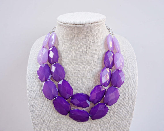 Purple Ombre Faceted Gem Statement Necklace