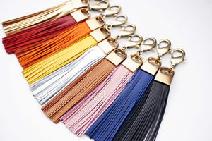 Genuine Leather and Brass Tassel Keychain