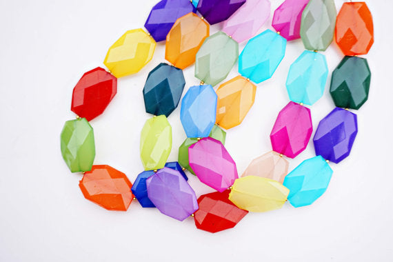 Multicolor Faceted Gem Statement Necklace