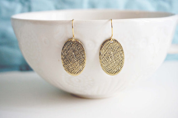 Textured Oval Pendant Earrings