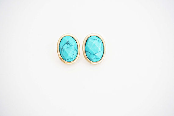 Turquoise and Gold Oval Post Stud Earrings