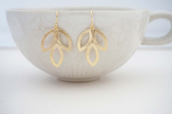 Matte Three Leaf Earrings