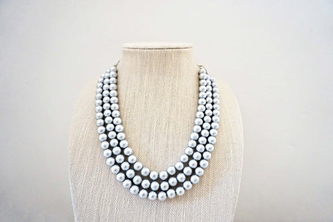 Matte Silver Three Strand Beaded Necklace