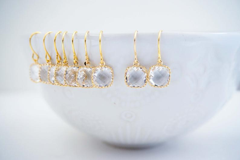 Crystal Square Gem Earrings | Bridesmaid Earrings | Wedding Jewelry
