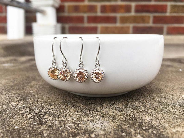 Dainty Mini Champagne Gem Earrings | Bridesmaid Earrings | Wedding Jewelry