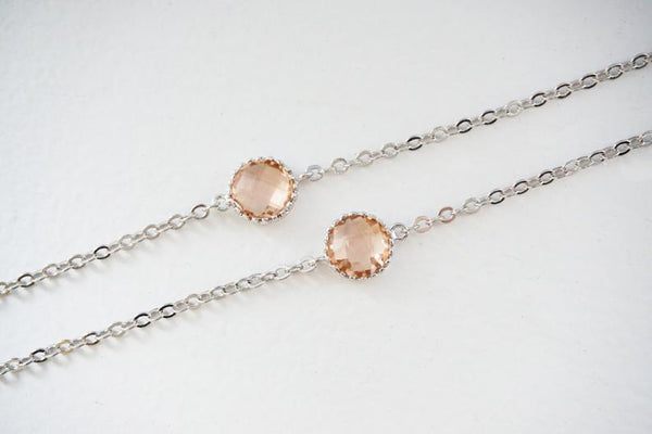 Champagne Circle Gem Bracelets | Bridesmaid Bracelets | Wedding Jewelry