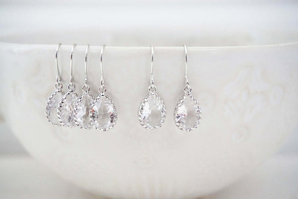 Dainty Crystal Gem Teardrop Earrings | Bridesmaid Earrings | Wedding Jewelry