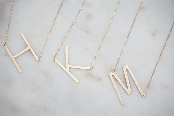 Brushed Gold Initial Necklace