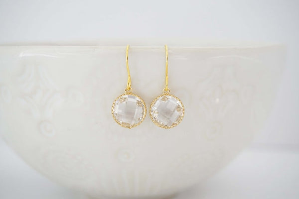 Crystal Circle Gem Earrings | Bridesmaid Earrings | Wedding Jewelry