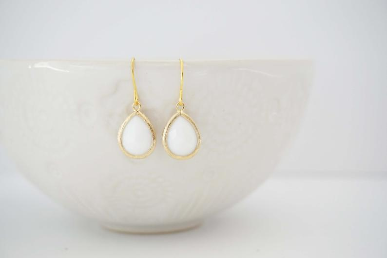 White Gem Teardrop Earrings | Bridesmaid Earrings | Wedding Earrings
