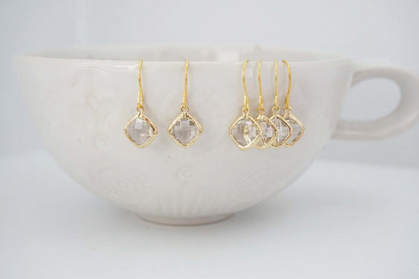 Crystal Diamond Shape Earrings | Bridesmaid Earrings | Wedding Jewelry
