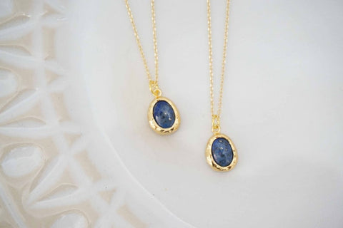 Blue Lapis and Gold Necklace | Lapis Charm Necklace | Gold Layering Necklace