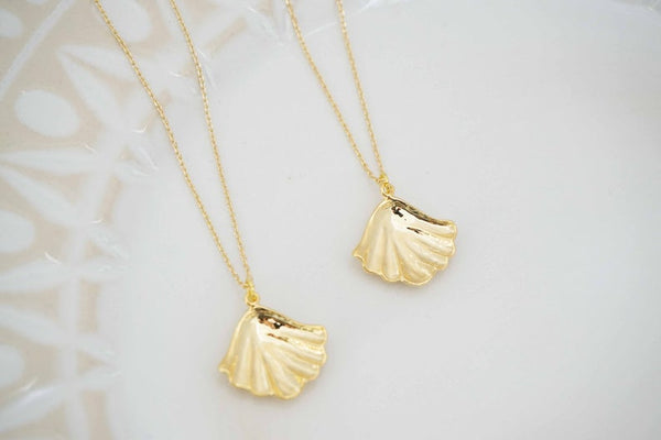 Glossy Gold Shell Necklace | Shell Charm Necklace | Gold Layering Necklace