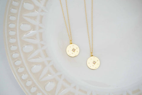 Gold and Opal Starburst Necklace | Gold Layering Necklace | Pendant Charm Necklace