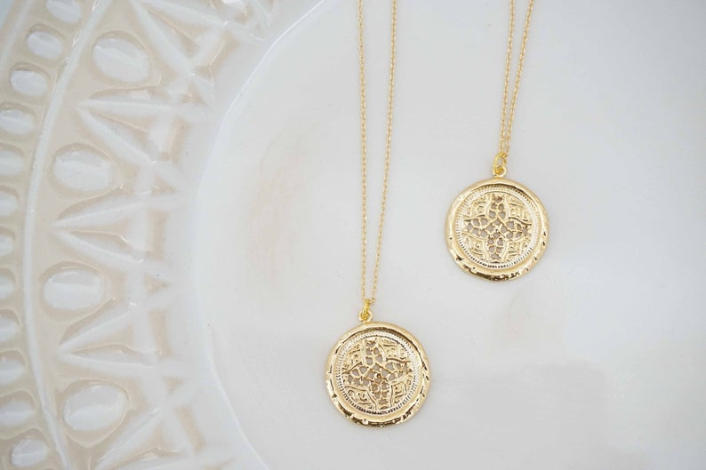 Gold Stamp Pendant Necklace | Gold Charm Necklace | Gold Layering Necklace
