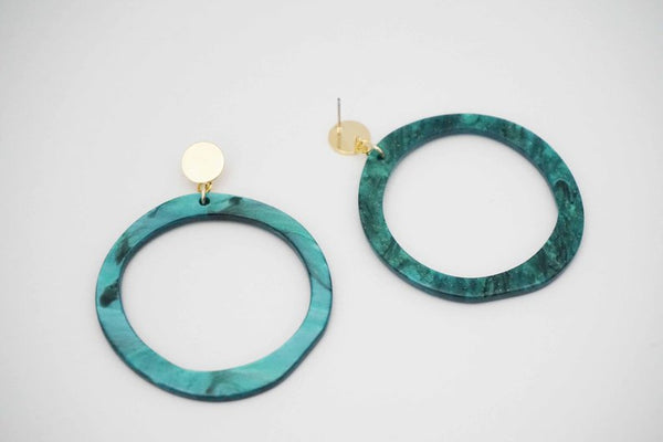 Turquoise Acrylic and Gold Post Statement Earrings