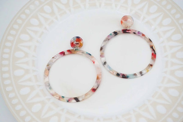 Pastel Multicolor Large Circle Post Statement Earrings