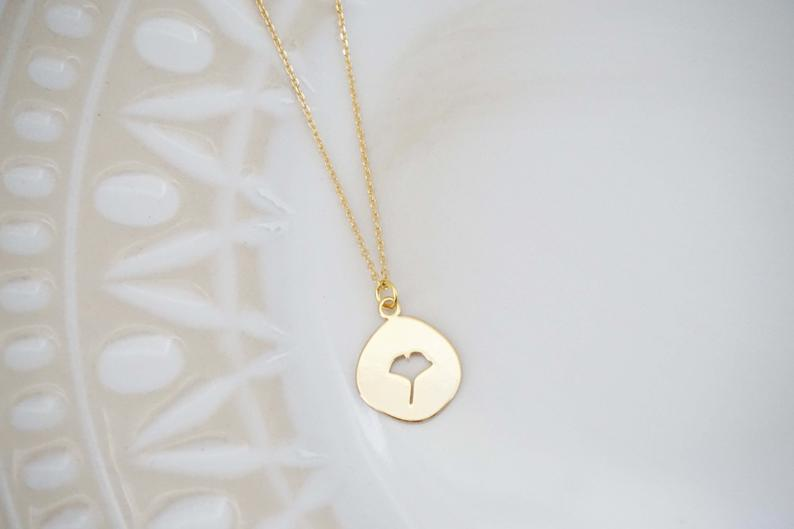 Glossy Gold Ginkgo Pendant Necklace | Ginkgo Charm Necklace | Leaf Necklace