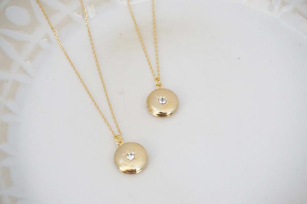 Gold Locket with Crystal Gem Necklace | Bridesmaid Necklaces | Wedding Jewelry
