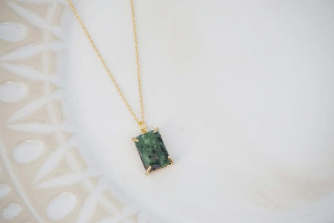 Green Jade Square Pendant Necklace