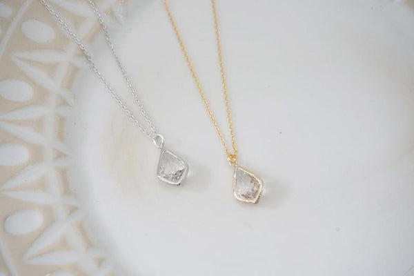 Crystal Teardrop Gem Necklace | Bridesmaid Necklaces | Wedding Jewelry