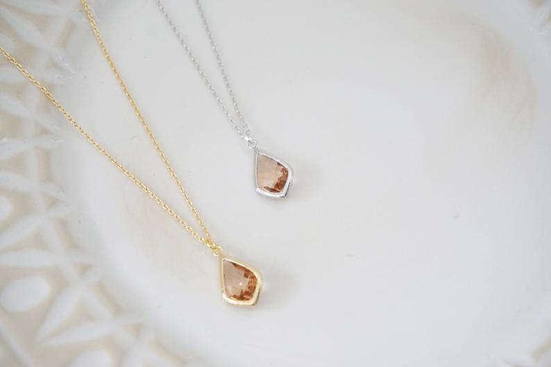 Champagne Gem Necklace | Bridesmaid Necklaces | Wedding Jewelry