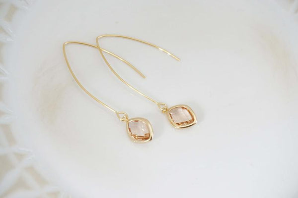 Long Hook Champagne Diamond Gem Earrings | Bridesmaid Earrings | Wedding Jewelry