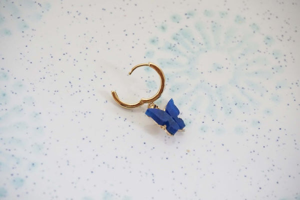 Blue Lapis and Gold Butterfly Hoop Earrings