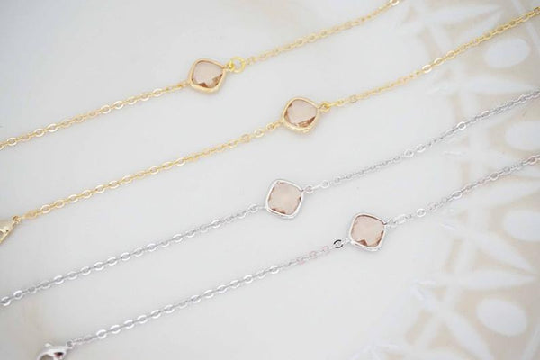 Champagne Gem and Gold Bracelet | Bridesmaid Bracelet | Wedding Jewelry