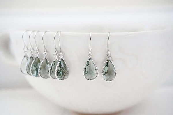 Dainty Grey Teardrop Gem Earrings | Bridesmaid Earrings | Wedding Jewelry
