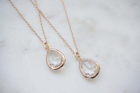 Crystal Gem and Rose Gold Necklace | Bridesmaid Necklaces | Wedding Jewelry