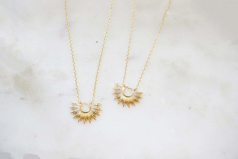 Gold Half Sunburst Necklace | Charm Necklace | Pendant Necklace