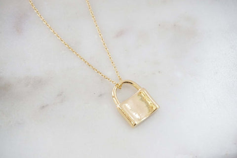 Glossy Gold Lock Charm Necklace | Padlock Necklace | Love Lock Necklace