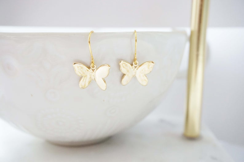 Glossy Gold Butterfly Earrings