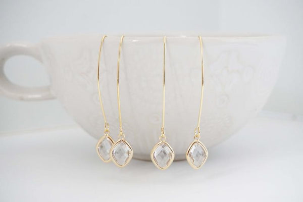 Long Hook Crystal Diamond Gem Earrings | Bridesmaid Earrings | Wedding Jewelry